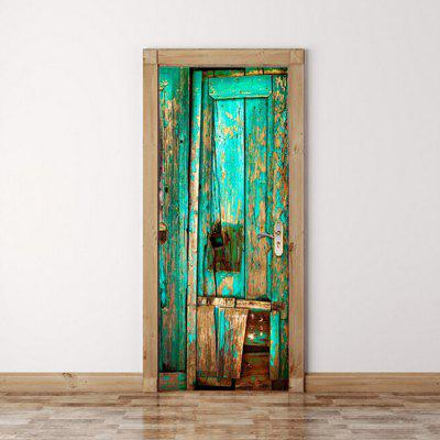 DM013 3D Original Green Old Wooden Door Sticker