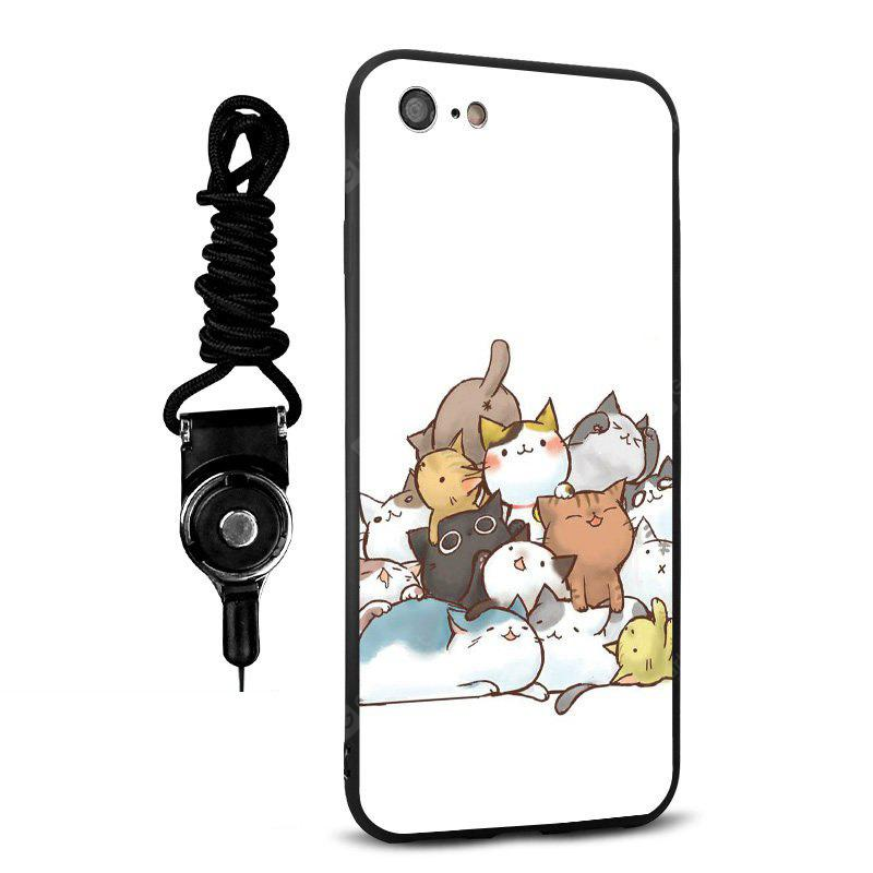 Emboss Cartoon Cats Silicone Lanyard Phone Case pour iPhone 7