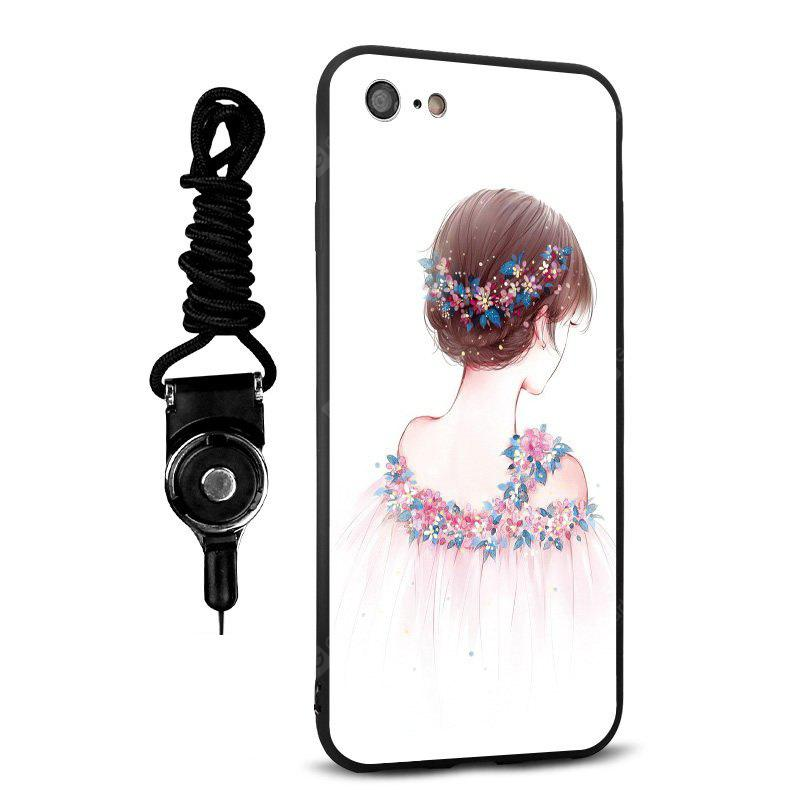 Emboss Pretty Girl Silicone Lanyard Phone Case pour iPhone 7
