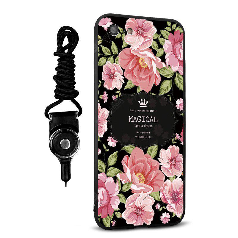 Emboss Cartoon Rose Silicone Lanyard Phone Case pour iPhone 7