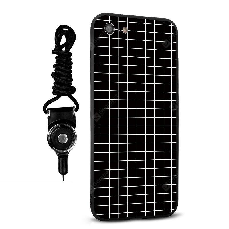 Emboss Grid Silicone Lanyard Phone Case pour iPhone 7