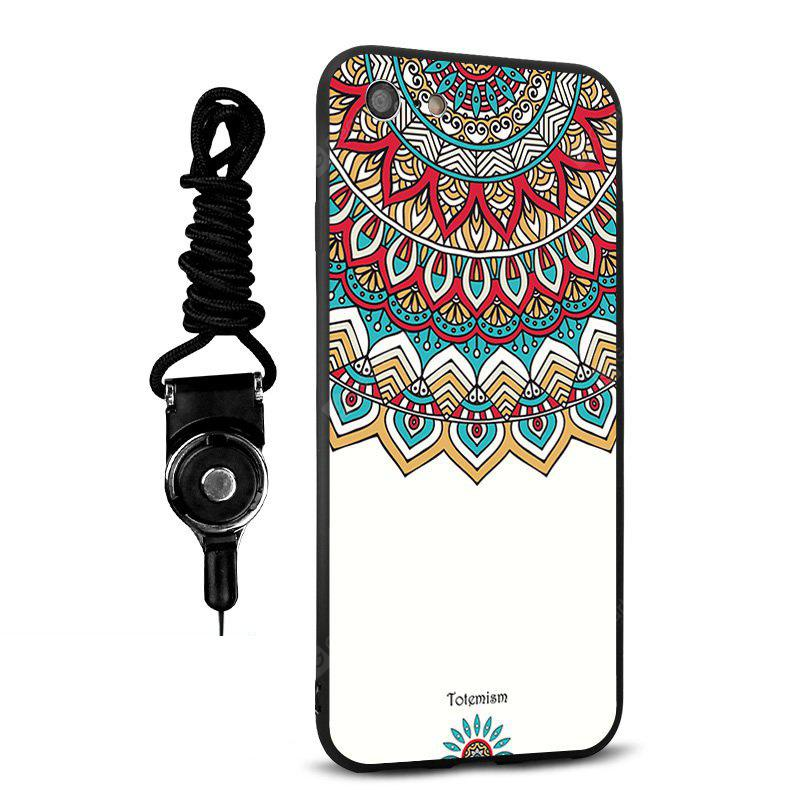 Emboss Totem Silicone Lanyard Phone Case pour iPhone 7