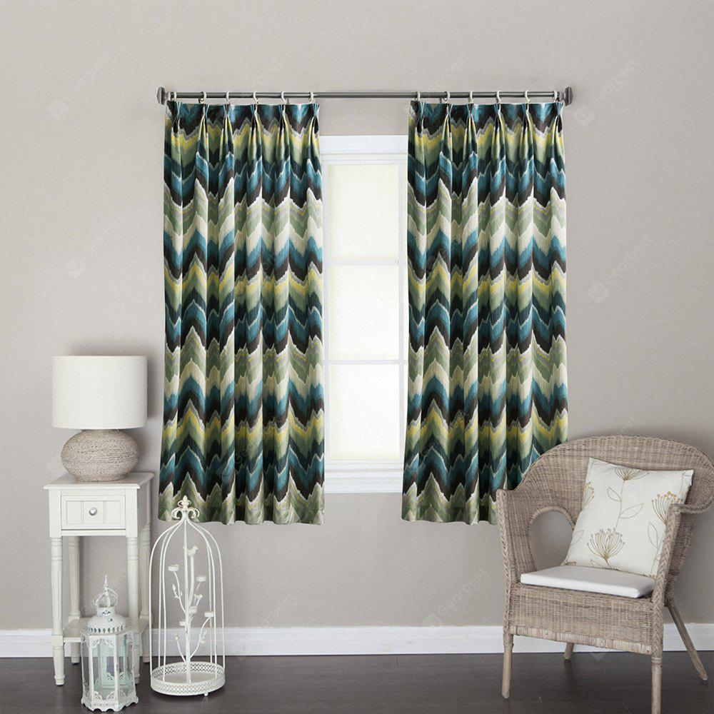 Ink-jet Printing Wave Pattern Window Curtains 52 x 63 inch