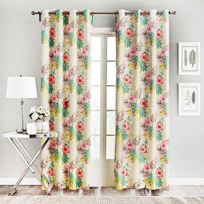 Ink-jet Printing Blooming Flowers Window Curtains 52 x 63 inch
