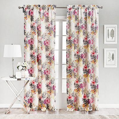 Ink-jet Printing Floral Window Curtains 52 x 63 inch