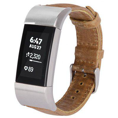 Crazy Horse Leather Watchband Wrist Band for Fitbit Charge 2