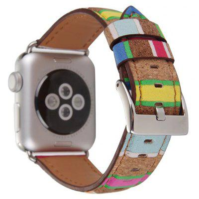 Pulsera de Cuero con Raya de Madera para Apple Watch 42mm