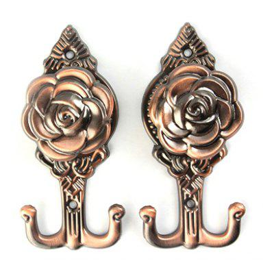 1 Pair of European Style Azalea Pattern Wall Alloy Hooks