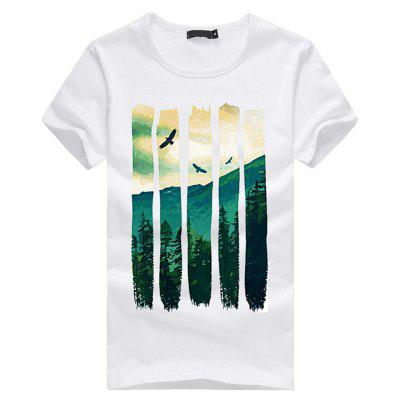 Mulheres Mountain Scenery Print Short Sleeve T-shirt