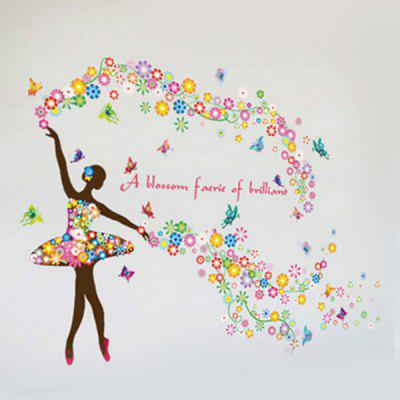 Beautiful Flower Fairy DIY  Wallpaper Wall Stickers Mural