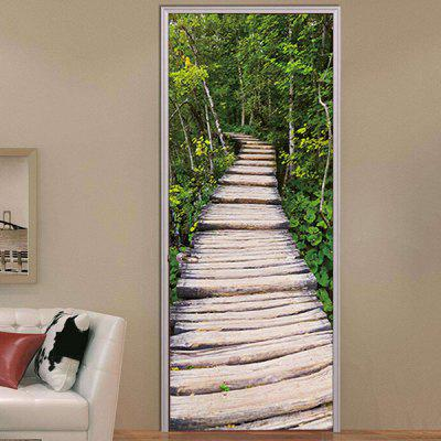 MT006 3D PVC Tree-lined Trail Self Adhesive Door Sticker