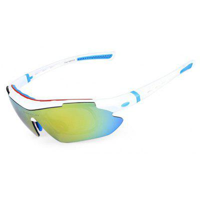 Buy BLUE AND WHITE OBALAY SP0890 5-replacement-lens Polarized Cycling Glasses for $15.93 in GearBest store