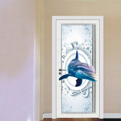 Custom 3D PVC Self Adhesive Dolphin Door Sticker