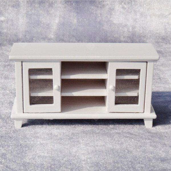 WHITE 1:12 Scale Doll House Miniature Wooden TV Cabinet Toy