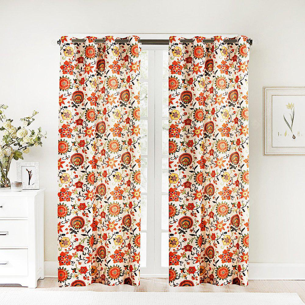 Ink-jet Printing Sweet Flowers Window Curtains 52 x 63 inch
