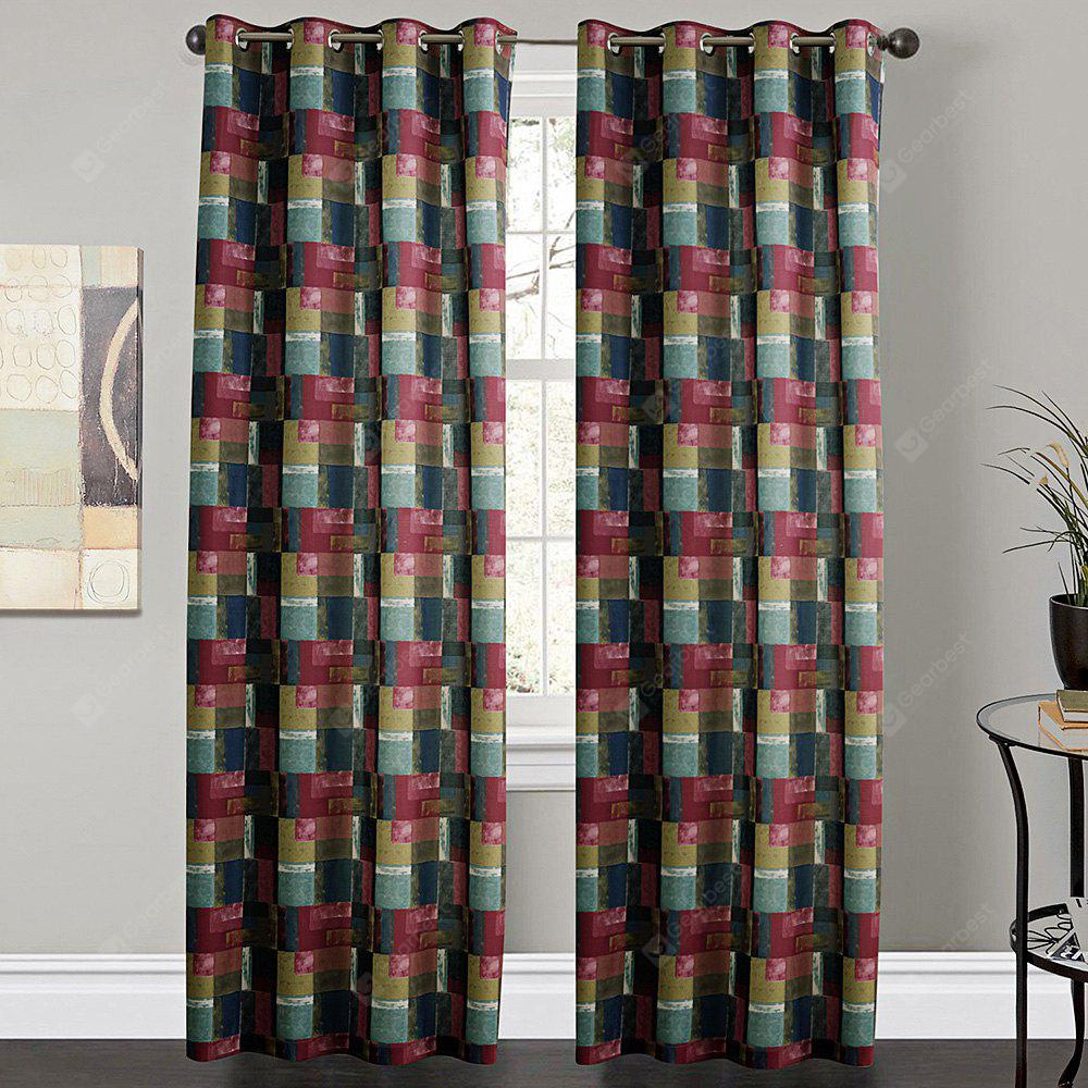 Ink-jet Printing Plaid Design Window Curtains 52 x 63 inch