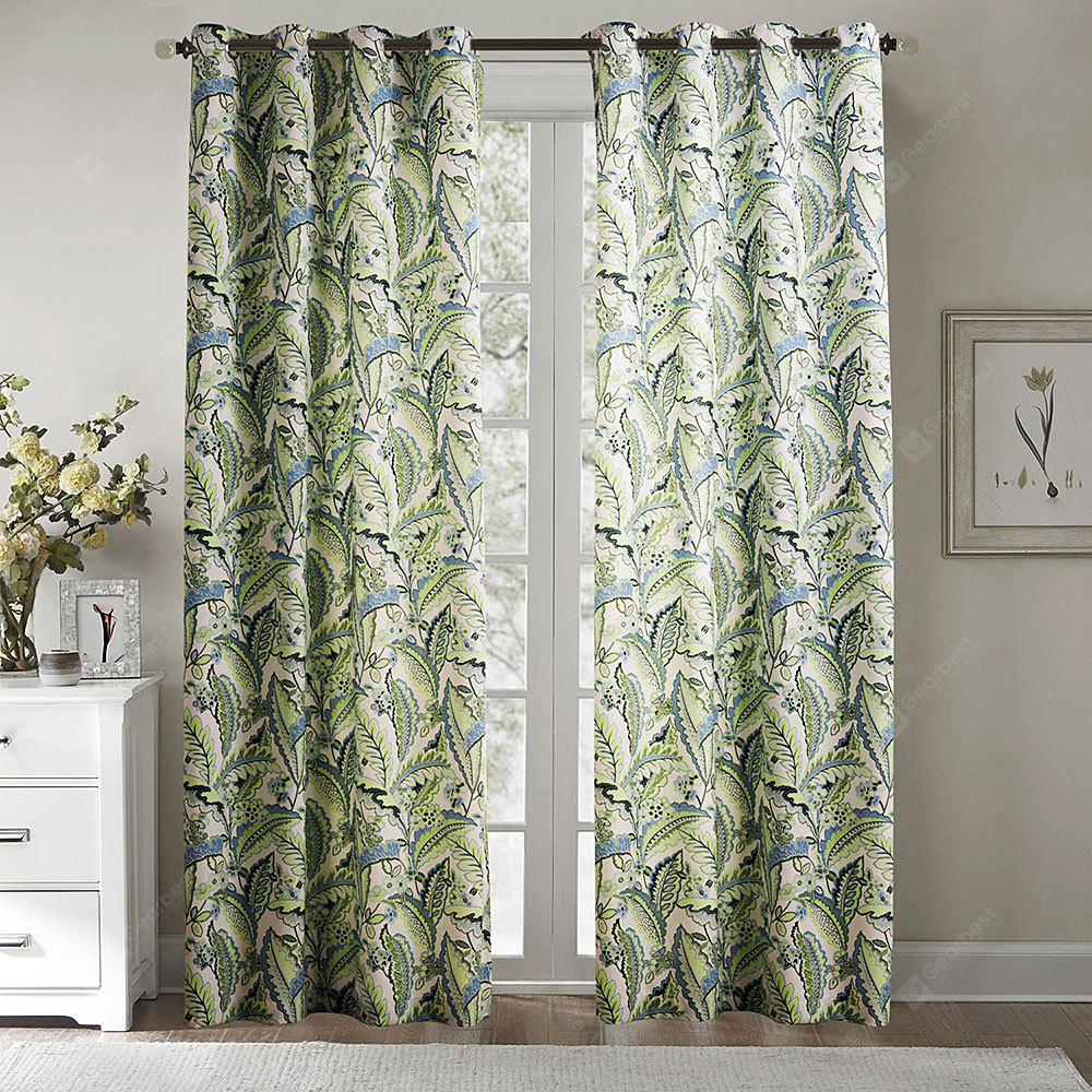 Ink-jet Printing Fresh Leaves Window Curtains 52 x 96 inch