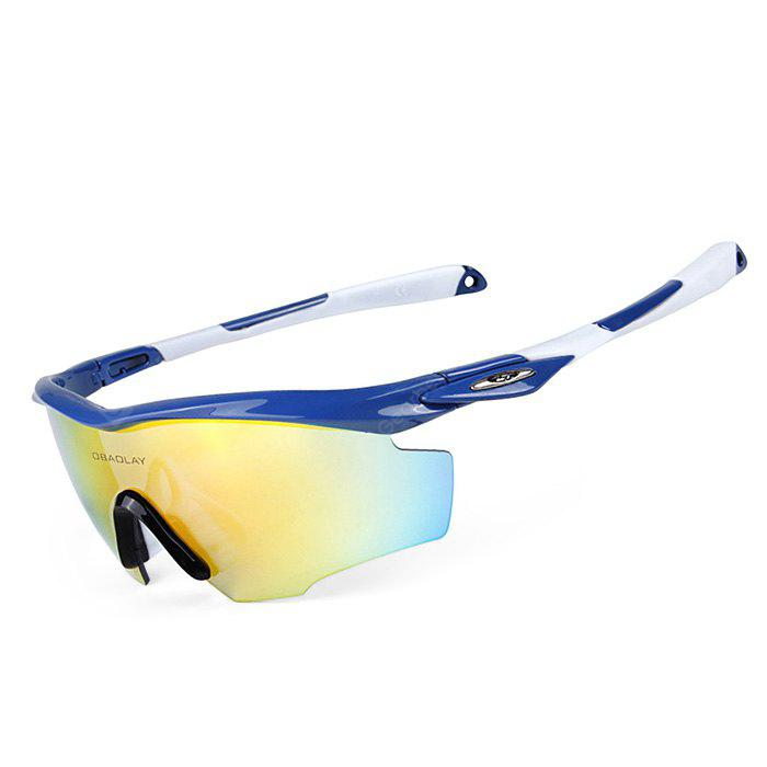BLUE AND WHITE OBALAY SP0891 5-replacement-lens Polarized Cycling Glasses