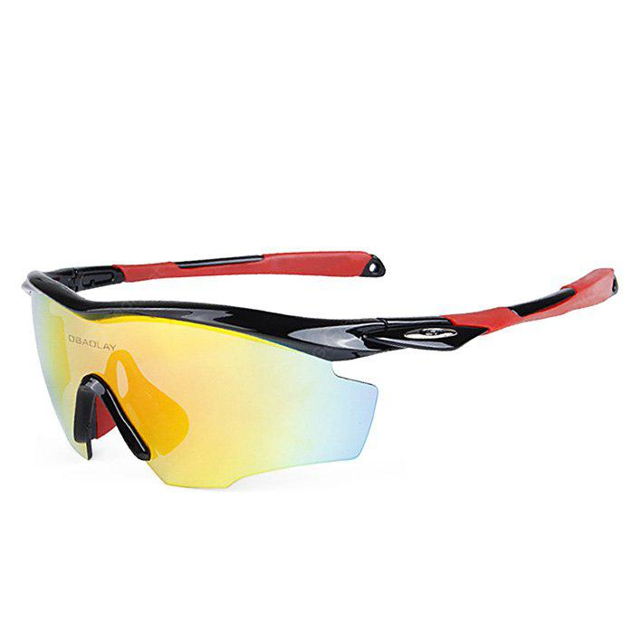 BLACK AND RED OBALAY SP0891 5-replacement-lens Polarized Cycling Glasses
