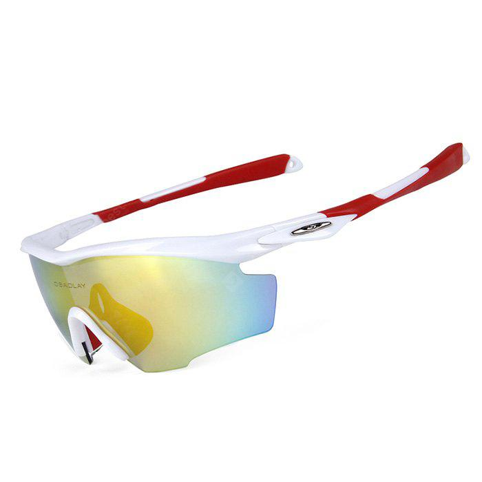 RED WITH WHITE OBALAY SP0891 5-replacement-lens Polarized Cycling Glasses