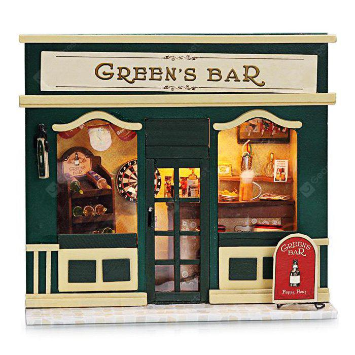 Wooden Bar DIY Kit Miniature Doll House with Counter Wine Rack LED Light