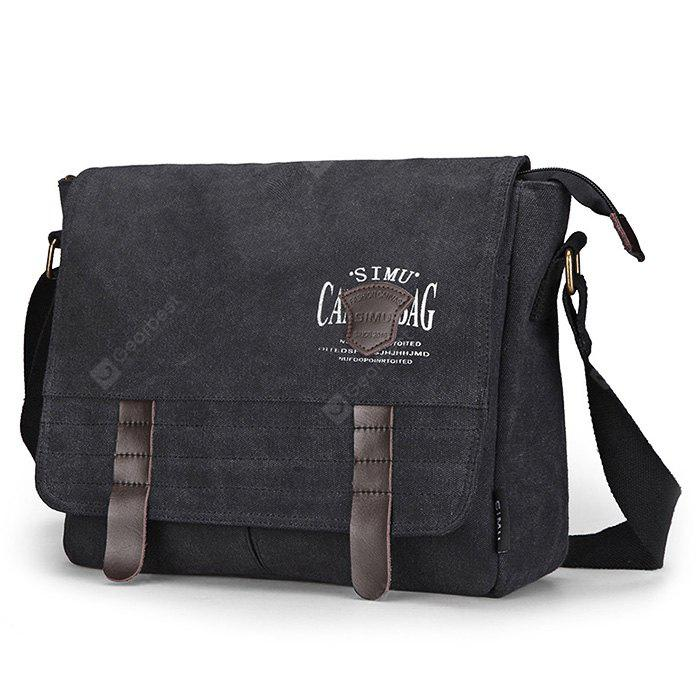 BLACK SIMU Retro Nylon Canvas Business Shoulder Bag