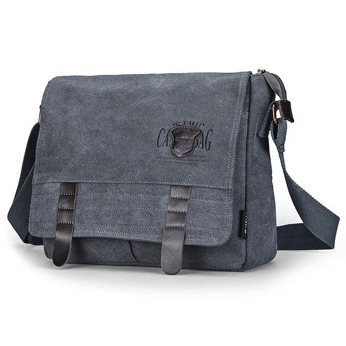 LIGHT GREY SIMU Retro Nylon Canvas Business Shoulder Bag