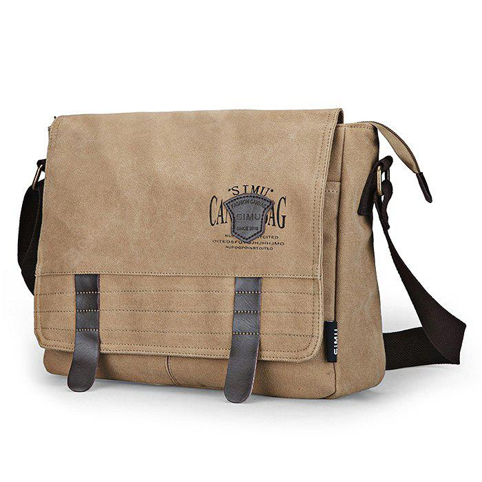 KHAKI SIMU Retro Nylon Canvas Business Shoulder Bag