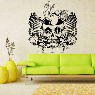 Buy BLACK Halloween Skull DIY Home Decor Wallpaper Wall Sticker for $8.32 in GearBest store