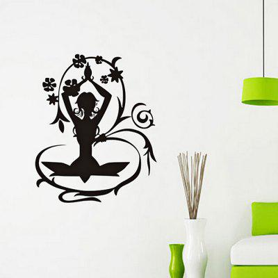 Buy BLACK Flower Faerie DIY Home Decor Wallpaper Wall Sticker Mural for $7.44 in GearBest store