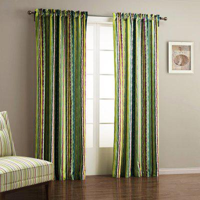 Ink-jet Printing Colorful Stripes Window Curtain 52W x 63L