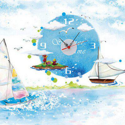 Buy BLUE Sailboat Clock Removable Waterproof Wall Sticker for $10.95 in GearBest store