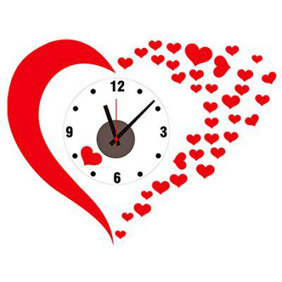 Loving Heart Style Wall Clock Sticker