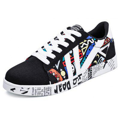 Buy BLACK AND ORANGE Special Printed All-match Shoes for Men for $30.49 in GearBest store
