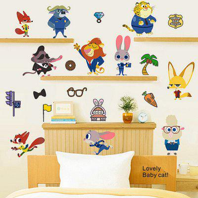 Buy COLORFUL Cartoon Animals Waterproof Removable Wall Sticker for $10.80 in GearBest store