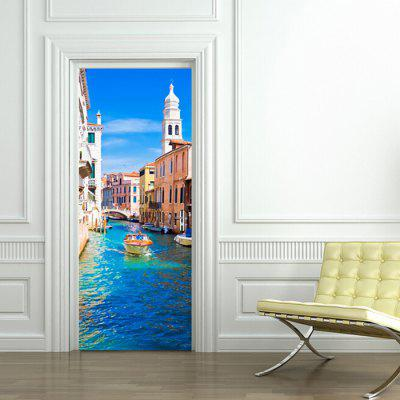 3D Portuguese Sea View Wooden Door Sticker