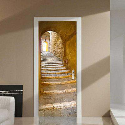 DM016 3D European Stone Step Door Sticker