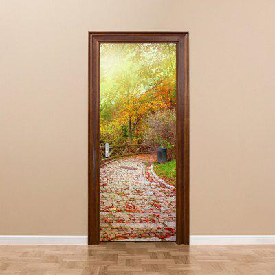 DM055 Autumn Fallen Leaves Flagging Door Sticker