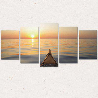 CP218 3D Five Paintings Nordic Style Beach Wharf  Wall Sticker