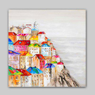 Happy Art Canvas Oil Painting Seaside Building Hand Painted Home Decor