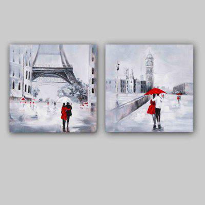 Happy Art YHHP Canvas Oil Painting Modern Pedestrians Hand Painted