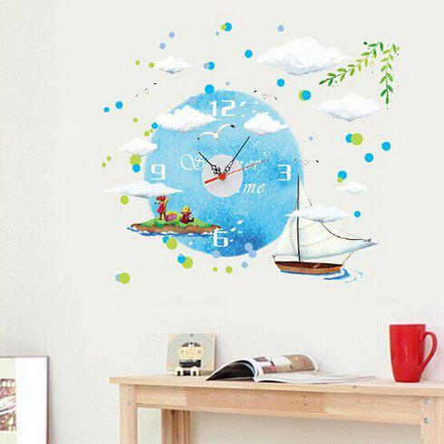 COLORMIX Sailboat Style Wall Clock Sticker