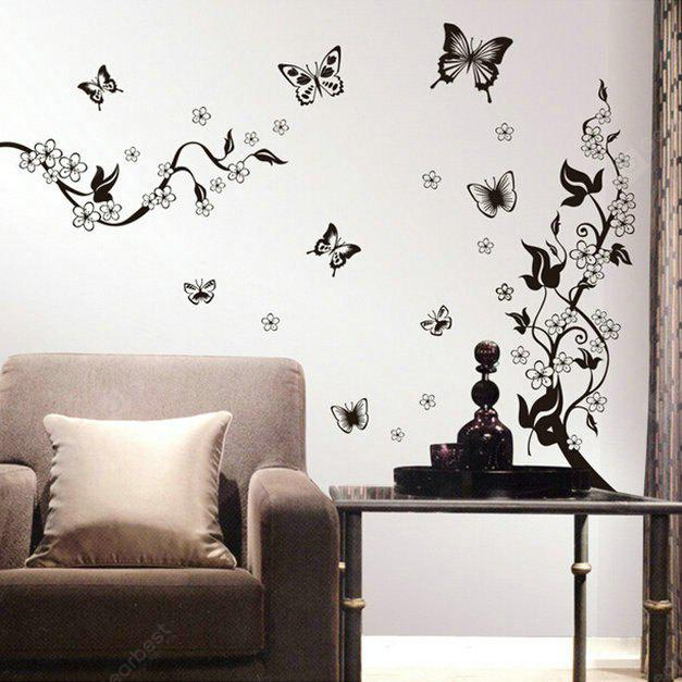 BLACK Butterfly and Flowers Style Wall Sticker