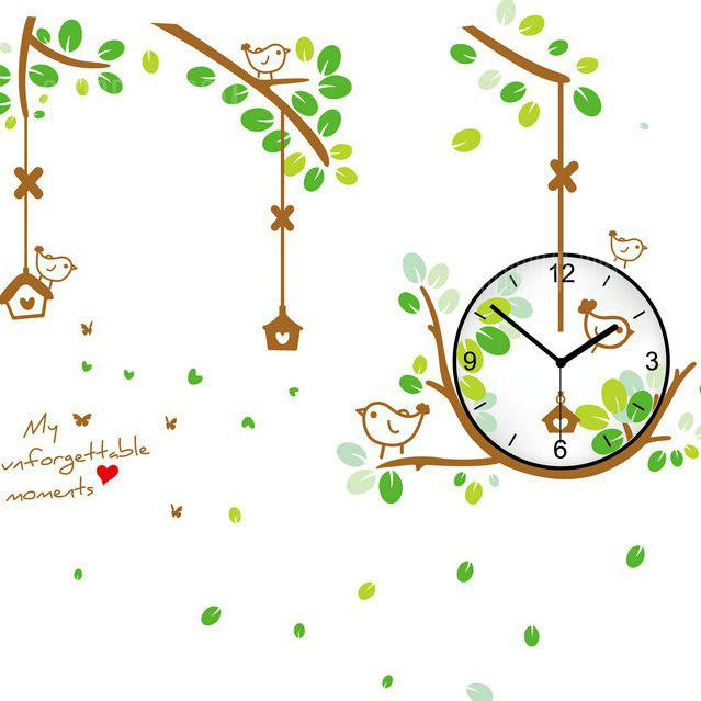 COLORMIX Bird Nest Style Wall Clock Sticker