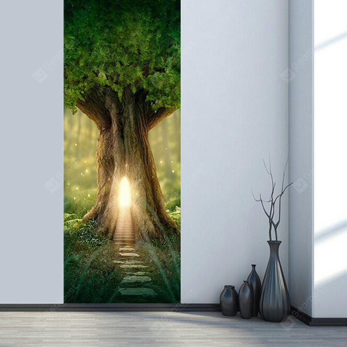 DM054 3D Fantasy Tree House in Forest Door Sticker