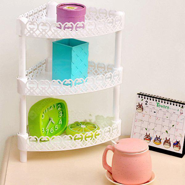 Buy Fashion Lace Triplex Kitchen Bathroom Desktop Storage Holder WHITE