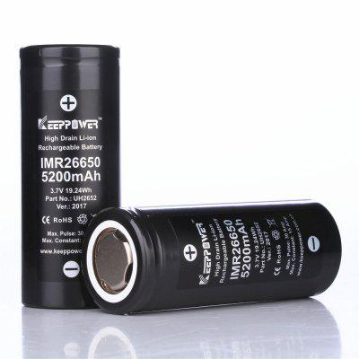 KeepPower 5200mAh 26650 Rechargeable 3.7V IMR Flat Lithium Battery Max 30ABatteries And Cases<br>KeepPower 5200mAh 26650 Rechargeable 3.7V IMR Flat Lithium Battery Max 30A<br><br>Brand: Keeppower, Keeppower<br>Package Contents: 1 x 26650 Battery, 1 x 26650 Battery<br>Package size (L x W x H): 8.00 x 4.00 x 4.00 cm / 3.15 x 1.57 x 1.57 inches, 8.00 x 4.00 x 4.00 cm / 3.15 x 1.57 x 1.57 inches<br>Package weight: 0.1200 kg, 0.1200 kg<br>Product size (L x W x H): 6.60 x 2.60 x 2.60 cm / 2.6 x 1.02 x 1.02 inches, 6.60 x 2.60 x 2.60 cm / 2.6 x 1.02 x 1.02 inches<br>Protected: No, No<br>Rechargeable: Yes, Yes<br>Suitable for: PDA, Flashlight, Flashlight, PDA<br>Type: Battery, Battery<br>Voltage(V): 3.7V, 3.7V