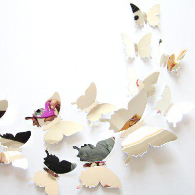 Buy SILVER AY H02 3D Mirror Butterfly Style Wall Sticker 12PCS for $4.40 in GearBest store