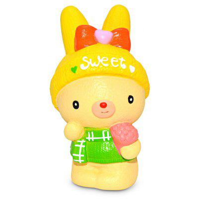 Squishy Cartoon Rabbit with Flower Bouquet