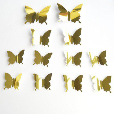 Buy GOLDEN AY H02 3D Mirror Butterfly Style Wall Sticker 12PCS for $4.40 in GearBest store